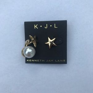 Kenneth Jay Lane pearl and star earrings